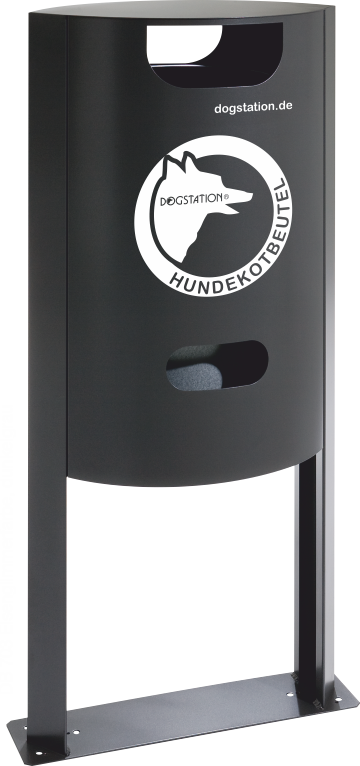 DOGSTATION(R) System-Abfallsammler, 50 Liter mit integriertem Tütenspender für 1200 Hundekotbeutel, Farbe DB 703 Eisenglimmer Dunkelgrau
